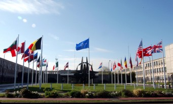 April 2004  Flags of the 26 member countries of NATO, NATO Headquarters, Brussels, Belgium.